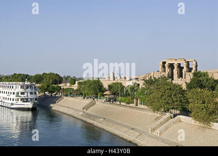 Egypt, Kom Ombo, town view, the Nile, cruise ship, Upper Egypt, town, houses, buildings, river, ships, holiday ship, - Stock Photo