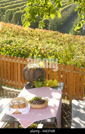 South Tyrol, Italy, laid table, vineyards, still life, outdoors, - Stock Photo