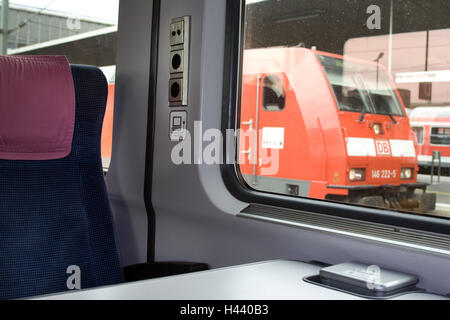 Train compartment, seat, sockets, windows, view, nobody, trajectory carriage, train, compartment, inside, seat compartment, - Stock Photo