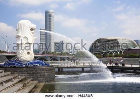 Singapore, Singapore town, Merlion park, well, well figure, gargoyle, - Stock Photo