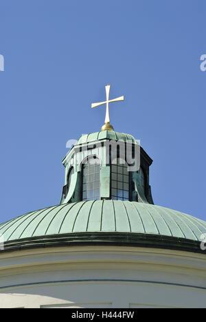 East cemetery, Aussegnungshalle, dome, cross, heaven, Germany, Bavaria, Upper Bavaria, Munich, - Stock Photo