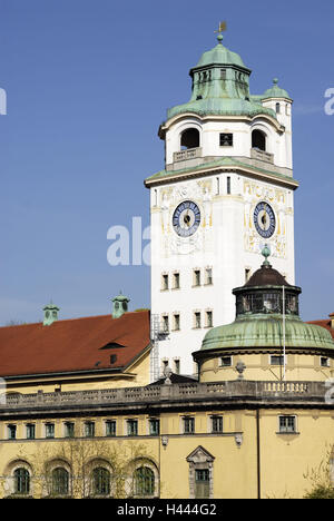 Müllersches national bath, tower, clock, building, roof, heaven, Germany, Bavaria, Munich, - Stock Photo