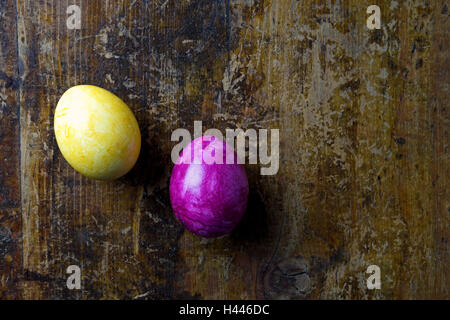 Easter eggs on wooden table, - Stock Photo