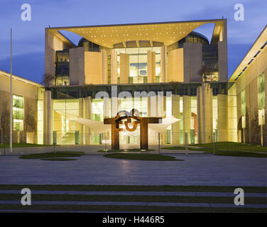 Germany, Berlin, Office the Federal Chancellor, evening, - Stock Photo
