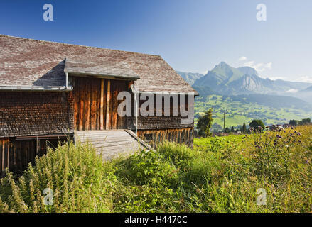 Switzerland, St. Gallen, Ober Toggenburg, alpine grassland, barn, - Stock Photo