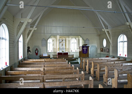 South Georgia, Grytviken, old whale handling station, church, in Norwegian, inside, - Stock Photo