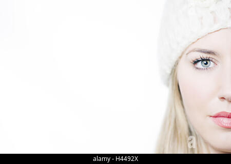 Woman, young, cap, portrait, cut out, model released, - Stock Photo