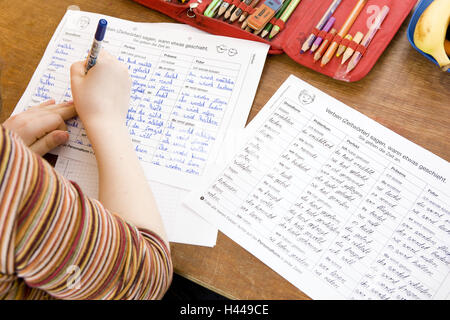 Classrooms, schoolboys, lessons, write, curled, - Stock Photo