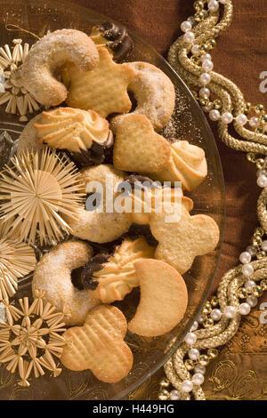 Christmas cake, plate, straw stars, detail, - Stock Photo