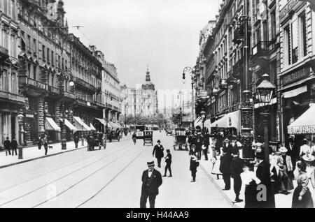 Germany, Hessen, Frankfurt am Main, Street Scene, Kaiserstraße, 1904, - Stock Photo