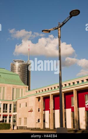 Main Portal Essen Philharmonie with RWE Tower, Huyssenallee, Essen, North Rhine-Westphalia, Germany, - Stock Photo