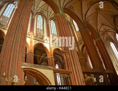 Germany, Schleswig - Holstein, Lübeck, cathedral, interior view, - Stock Photo