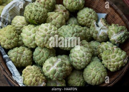 sugar-apples on fresh exotic asian fruit stall in aberdeen hong ...