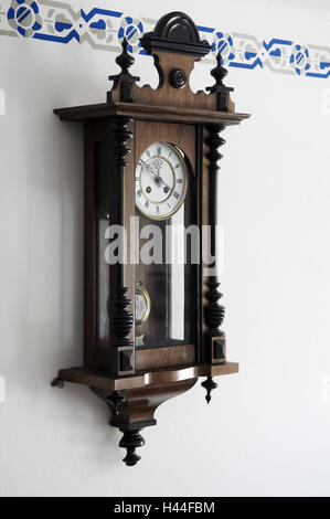 Wall clock, dial, pointer, figures, cabinets, wall, border, - Stock Photo
