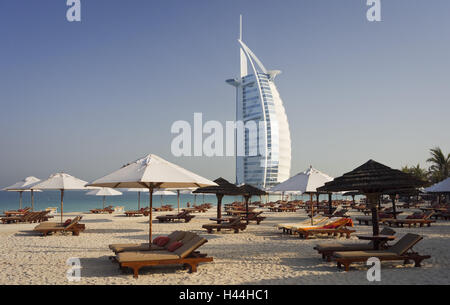 United Arab Emirates, Dubai, Burj Al Arab, Jumeirah Beach, beach, - Stock Photo