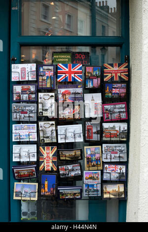 Post cards on sale outside shop, Greenwich, London, UK - Stock Photo