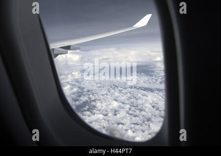 Airplane, view from the window, sea clouds, - Stock Photo