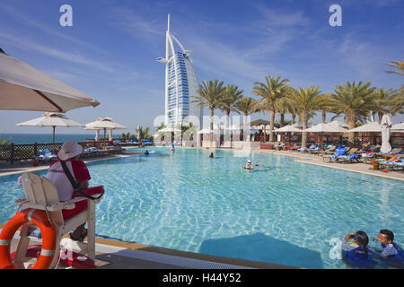 United Arab Emirates, Dubai, Burj Al Arab, pool, Madinat, bathers, - Stock Photo