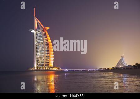 United Arab Emirates, Dubai, Burj Al Arab, evening mood, - Stock Photo
