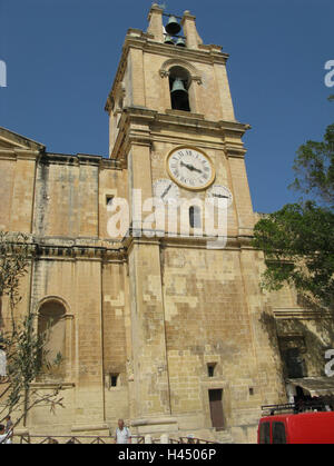 Malta, Valletta, St. John's Co-Cathedral, steeple, island, town, capital, place of interest, church, sacred construction, - Stock Photo