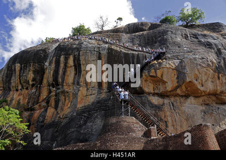 Sri Lanka, Sigiriya, monolith, stairs, tourist, - Stock Photo