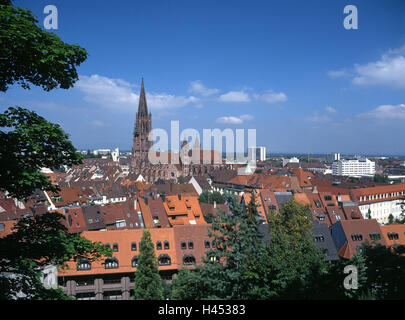Germany, Baden-Wurttemberg, Freiburg im Breisgau, town view, cathedral our dear Mrs. Schlossberg, town, city centre, - Stock Photo