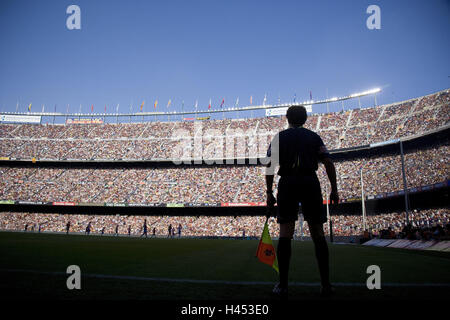 Spain, Barcelona, football stadium camp Nou, football match, linesman, Catalonia, town, sport, football, stadium, - Stock Photo