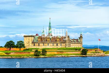 View of Kronborg Castle from Oresund strait in Denmark - Stock Photo