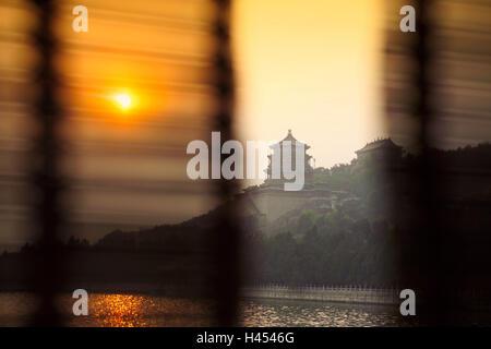 China, Beijing, curtains, view Summer Palace, 'Yiheyuan', Kunming Lake, Dusk, - Stock Photo