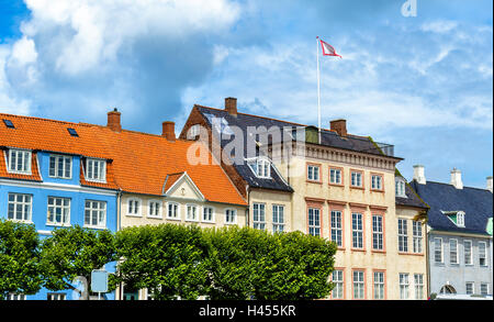 Buildings in the old town of Helsingor in Denmark - Stock Photo