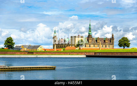 View of Kronborg Castle from Helsingor port in Denmark - Stock Photo