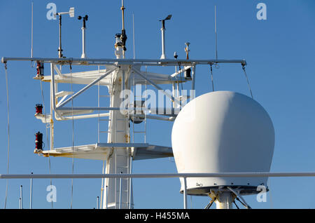 Mast on Cook Strait Ferry with radar and communication equipment, Wellington, North Island, New Zealand - Stock Photo