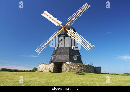 Denmark, Fünen, windmill, - Stock Photo