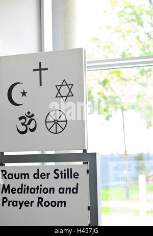 Hint to a prayer room for all religions, - Stock Photo