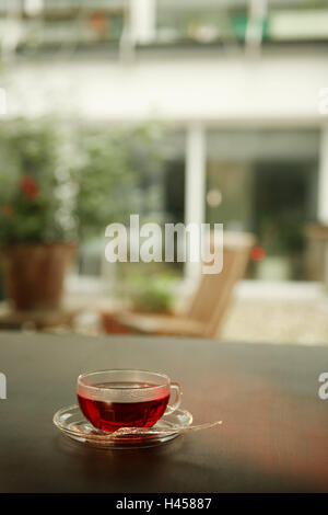 Cup, fruit tea, glass cup teacup, tea, drink, hot drink, hotly, red, table, glass, rose hip tea, - Stock Photo