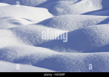 Winters, snow, hills, light, shadows,    Snow surface, hilly, untouched, excerpt, snow crystal, winters, nature, - Stock Photo
