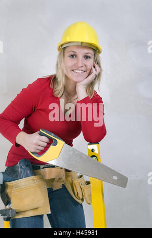 Woman, young, smile, construction helmet, tools, icon, do it yourself, person, upgrading, construction, men at work, - Stock Photo
