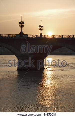 France, river Garonne, bridge, Le Pont de Pierre, sunset, - Stock Photo