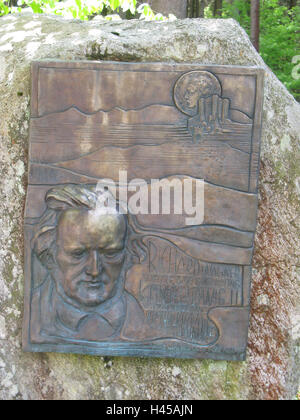 Germany, Bavaria, Altlach, rock, commemorative table, Richard Wagner, king Ludwig II, South Germany, Upper Bavaria, - Stock Photo