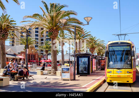 The tram at 'Moseley Square' Glenelg, South Australia's most popular seaside entertainment area. - Stock Photo