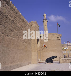 United Arab Emirates, Dubai, Al-Fahidi fort, tower, cannons, flags, VAE, town, capital, building, architecture, - Stock Photo