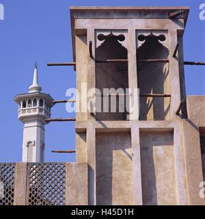 United Arab Emirates, Dubai, Bastakia fourth, wind tower, VAE, town, destination, building, architecture, architecture, - Stock Photo