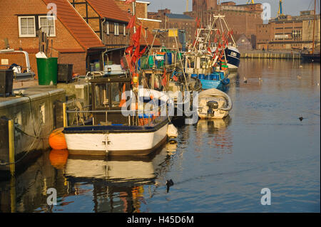 Germany, Mecklenburg-West Pomerania, Wismar, harbour, boots, - Stock Photo