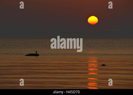 Germany, Mecklenburg-West Pomerania, island Poel, village Timmen, Baltic coast, the Baltic Sea, sundown, - Stock Photo