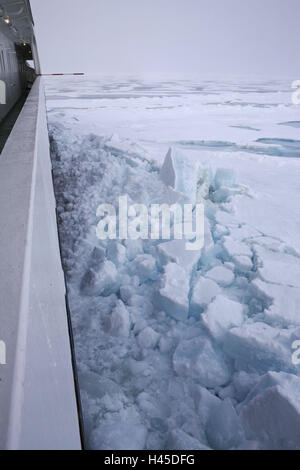 Arctic ocean, pack ice, ship 'Polarstern', detail, for editorial use only, - Stock Photo