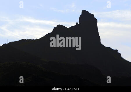Spain, Canary islands, island grain Canaria, Cumbre mountains, Roque Bentayga, silhouette, - Stock Photo