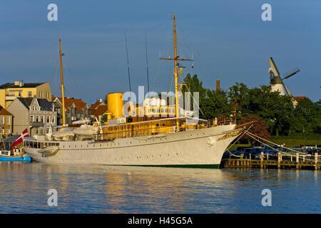 Denmark, Jutland, Soenderborg, harbour, royal yacht 'Dannebrog', - Stock Photo