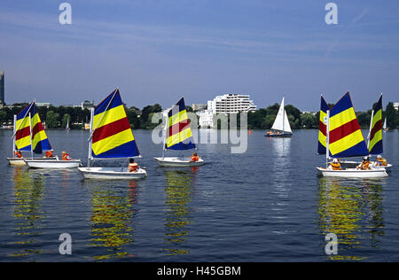Germany, Hamburg, the Outer Alster lake, sailing school, children, yachts, sail, people, leisure time, lessons, - Stock Photo
