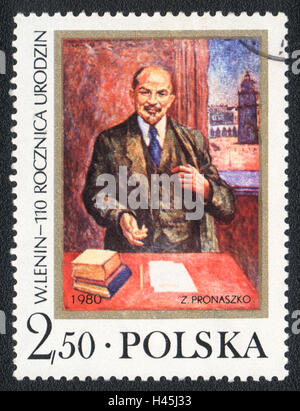 A postage stamp printed in Poland, shows Portrait of Lenin by Z. Pronaszko, devoted to 110th Birth Anniversary, - Stock Photo