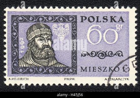 A postage stamp printed in Poland shows portrait of Mieszko I of Poland , circa 1992 - Stock Photo
